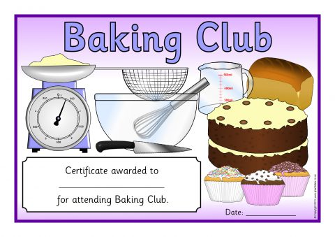 Printable school clubs certificates for primary ks1 ks2 sparklebox view preview baking certificates yadclub Gallery