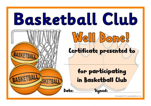 This is a picture of Printable Basketball Certificates inside 7th grade end year