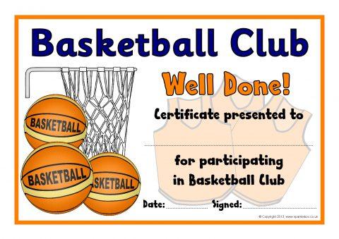 Basketball Club Award Certificates (SB9550) - SparkleBox