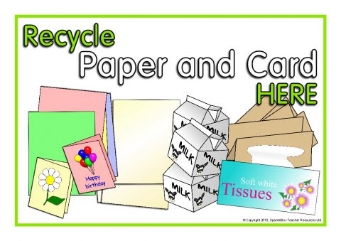 graphic about Recycle Labels Printable named Clroom Recycling Bin Posters/Labels (SB2983) - SparkleBox