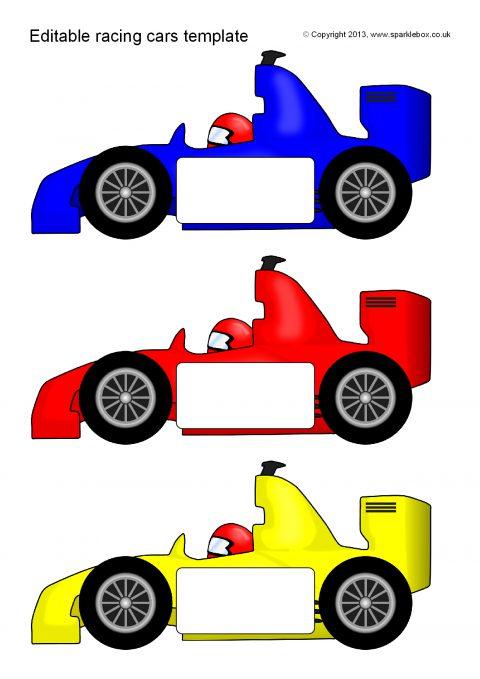 Editable Racing Car Templates – Reversed (SB10060) - SparkleBox