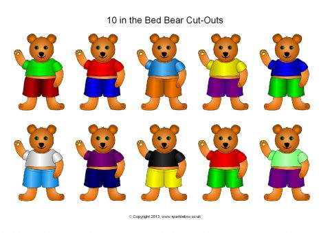 10 In The Bed Bear Cut Outs Sb2115 Sparklebox