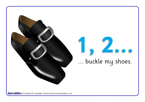graphic regarding One Two Buckle My Shoe Printable referred to as 1, 2 Buckle My Sneakers Visible Will help (SB751) - SparkleBox