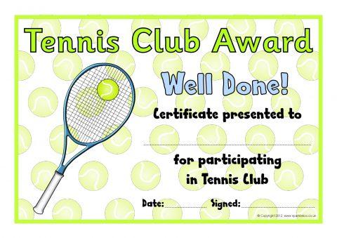 Tennis Club Award Certificates (SB8032) - SparkleBox