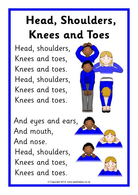 Head Shoulders Knees And Toes Song Sheet SB10974