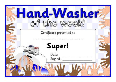 Hand Washer Award Certificates (SB6379) - SparkleBox