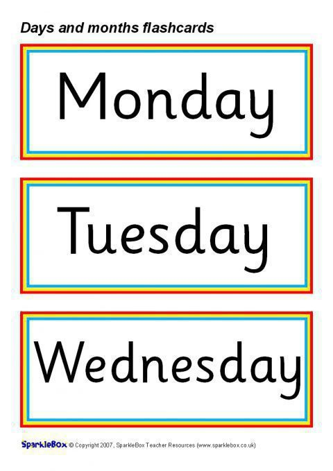 Days And Months Flash Cards Sb1017 Sparklebox
