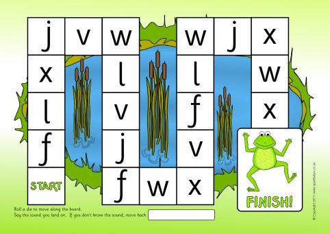 F L J V W X Phonics Board Game (SB6976) - SparkleBox