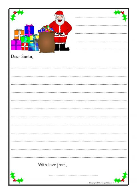 Letter writing frames and printable page borders ks1 ks2 sparklebox view preview letters to santa writing frames spiritdancerdesigns Image collections