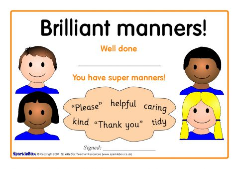 Good Manners Certificates (SB1020) - SparkleBox