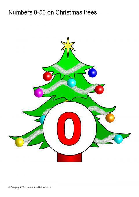 Numbers 0-50 on Christmas Trees (SB1933) - SparkleBox
