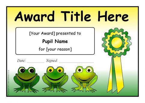 Editable Frog-Themed Certificate Templates (SB9877 ...