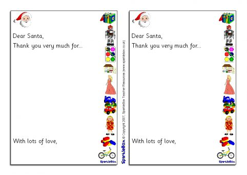 Christmas writing frames and printable page borders ks1 ks2 santa thank you letter writing frames sb1118 spiritdancerdesigns Images
