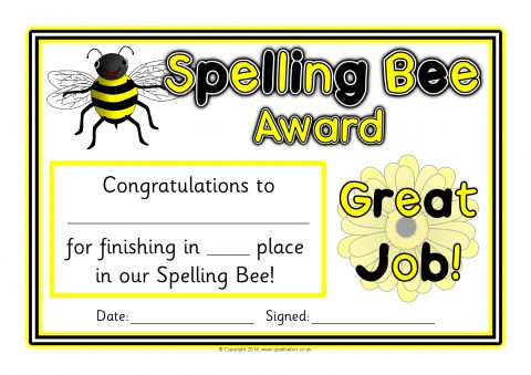 Spelling Bee Award Certificates (SB10421) - SparkleBox