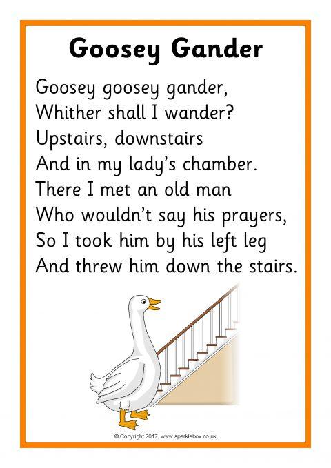 Goosey Gander Song Sheet Sb12131 Sparklebox