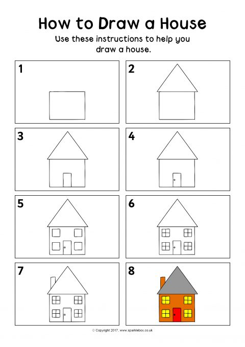 How to draw a house instructions sheet sb12162 sparklebox for How to build a house step by step instructions