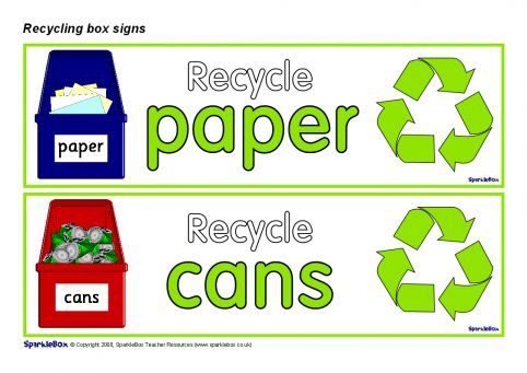 Recycling Box Labels Sb1242 Sparklebox