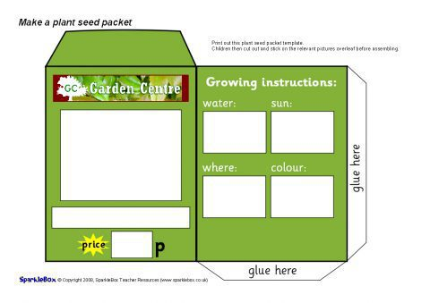 Seed Packet Design Sheets SB SparkleBox - Seed packet template