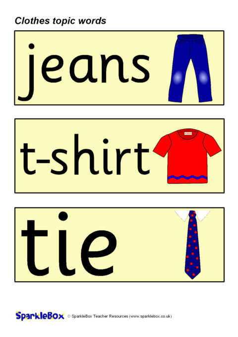 Clothes Topic Word Cards Sb224 Sparklebox