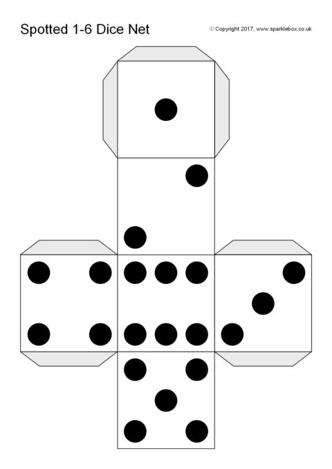 photograph relating to Printable Dice identified as Noticed Cube Template (SB12186) - SparkleBox