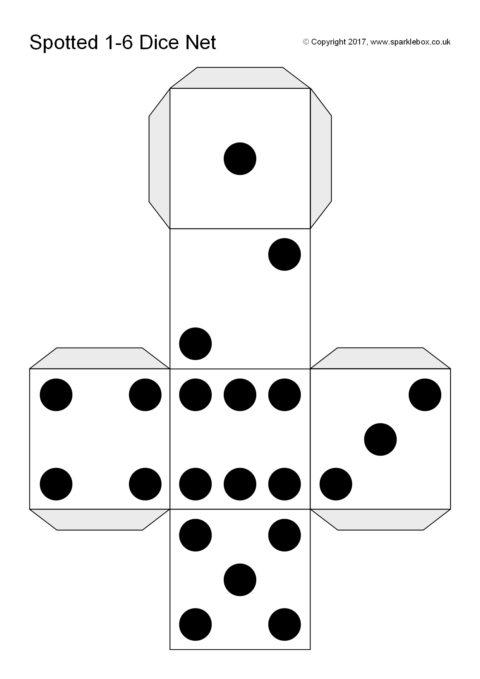 image regarding Printable Dice titled Noticed Cube Template (SB12186) - SparkleBox