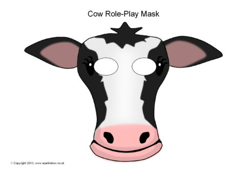 photo about Free Printable Cow Mask named Cow Purpose-Participate in Masks (SB9253) - SparkleBox