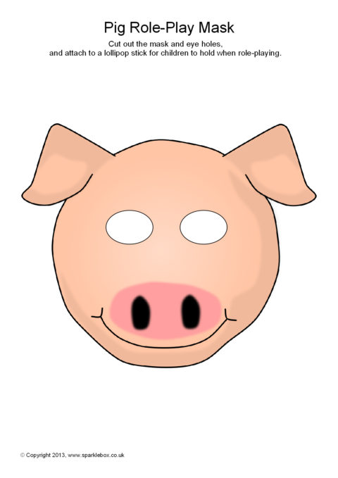 photograph about Printable Pig Mask referred to as Pig Position-Perform Masks (SB9258) - SparkleBox