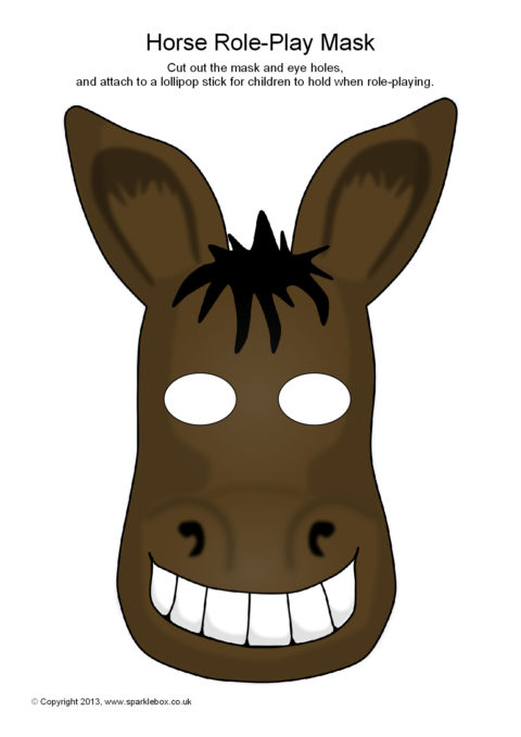 Sb9259 Horse Masks on Donkey Mask Template