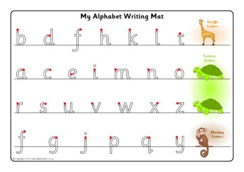 Giraffe Tortoise And Monkey Letter Formation Mats Sb9175