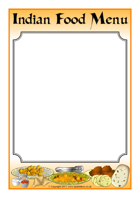 Indian Food Menu Writing Frame (SB3862) - SparkleBox