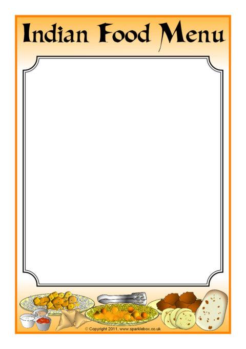 indian food menu writing frame  sb3862