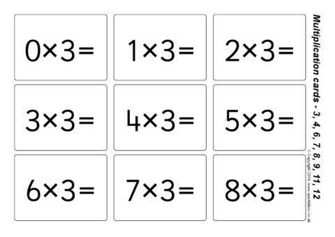 Simple Multiplication Flash Cards 3 4 6 7 8 9 11 And 12