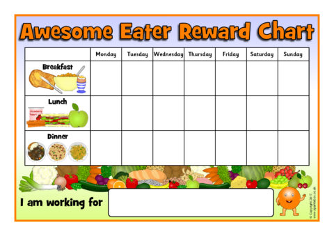 fussy eater daily mealtime reward charts sb12224 sparklebox
