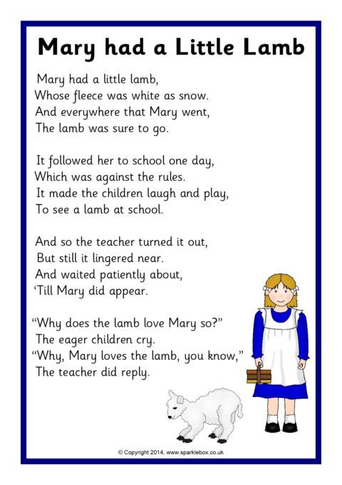 View Preview Mary Had A Little Lamb Rhyme Sheet SB11030 Printable Featuring The Words