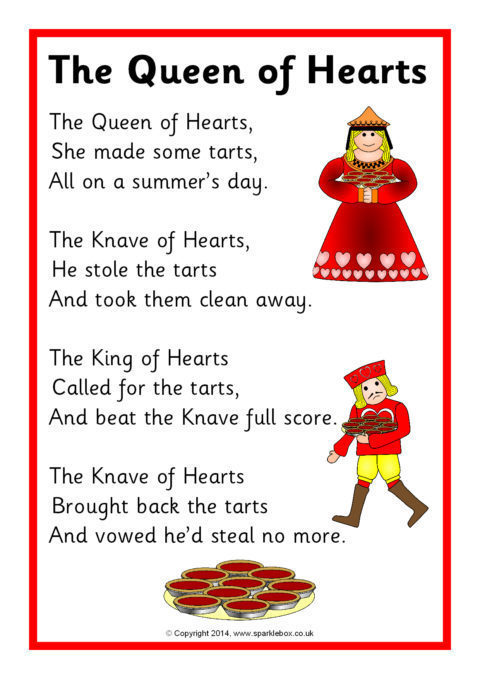 The Queen Of Hearts Rhyme Sheet Sb10935 Sparklebox