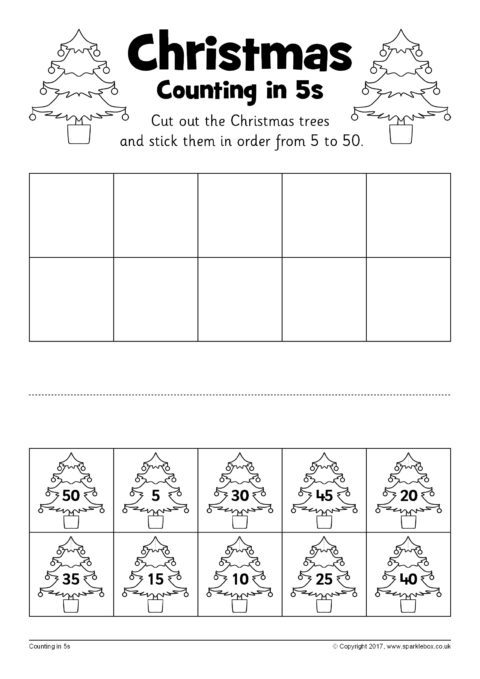 christmas counting in 5s cut and stick worksheets sb12250 sparklebox. Black Bedroom Furniture Sets. Home Design Ideas