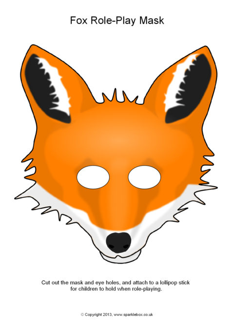 graphic about Printable Fox Masks named Fox Part-Enjoy Masks (SB880) - SparkleBox