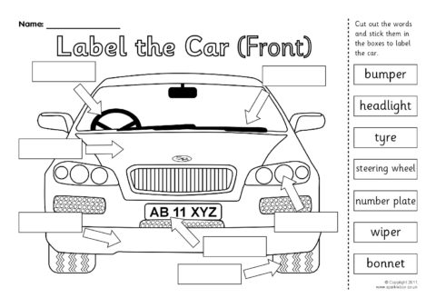 car parts worksheet for kindergarten car best free printable worksheets. Black Bedroom Furniture Sets. Home Design Ideas