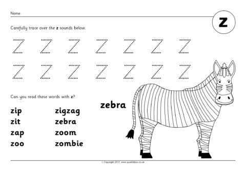 Phoneme Worksheets: z (SB12266) - SparkleBox