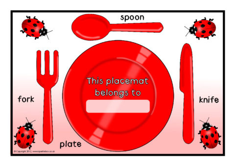 Dinnertime Cutlery Placemats Sb8849 Sparklebox