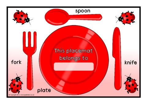 Dinnertime Cutlery Placemats Sb8849 Sparklebox