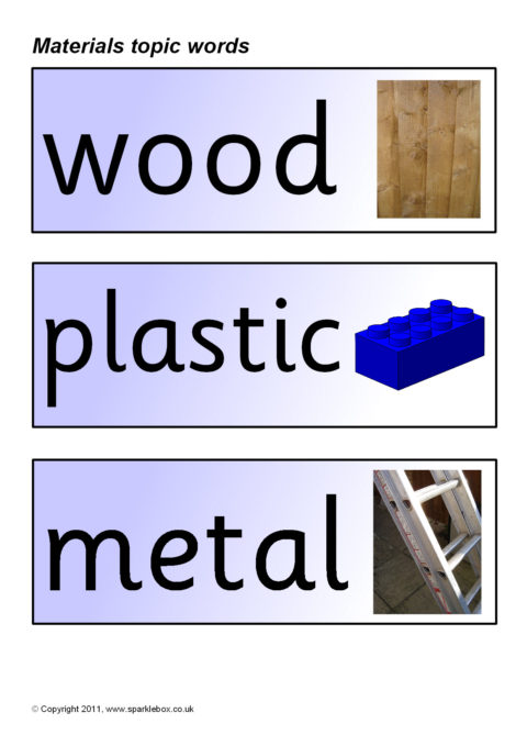 Materials Topic Word Cards (SB163) - SparkleBox