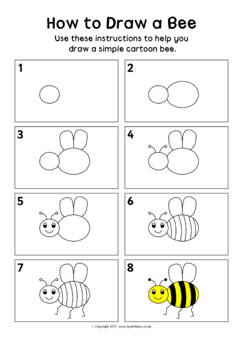 How To Draw A Bee Instructions Sheet Sb12296 Sparklebox