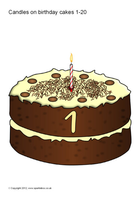 Numbers 0 20 On Birthday Cakes Sb74 Sparklebox