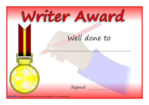 Writer reader and speller award certificates sb1956 for Calligraphy certificate templates