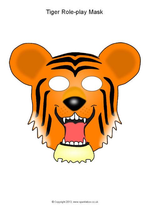 image relating to Printable Tiger Mask named Tiger Function-Engage in Masks (SB9863) - SparkleBox