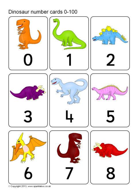 Dinosaur Number Cards 0-100 (SB9842) - SparkleBox