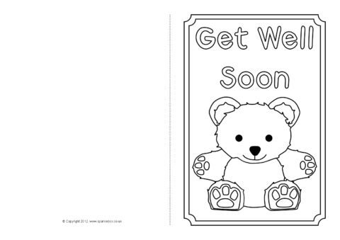 photo relating to Get Well Card Printable called Obtain Nicely Quickly Card Colouring Templates (SB8890) - SparkleBox
