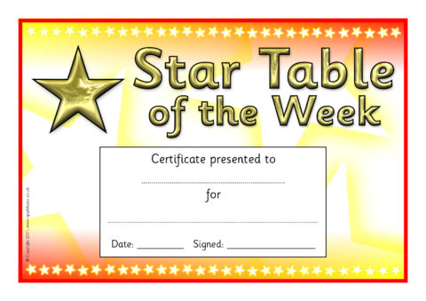 Star Table/Group of the Week Certificates (SB5467 ...