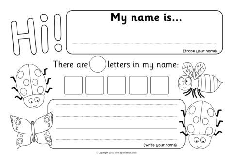 Minibeast Themed Name Writing Worksheets Sb12395